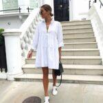 Outfits con vestido camisero blanco
