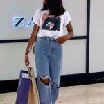 Playera aguada con wide leg jeans