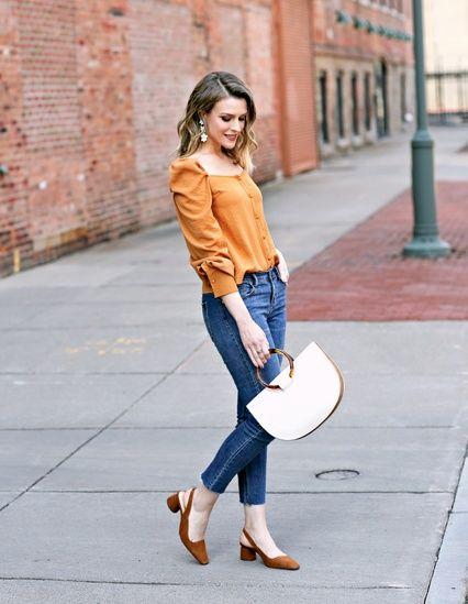 Jeans de mezclilla con un toque naranja para otoño