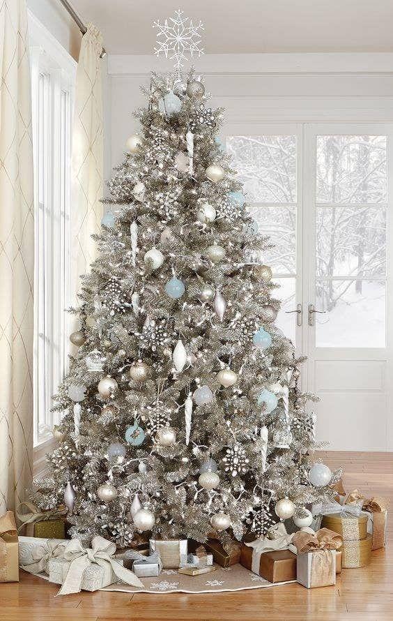 arboles de navidad color plata