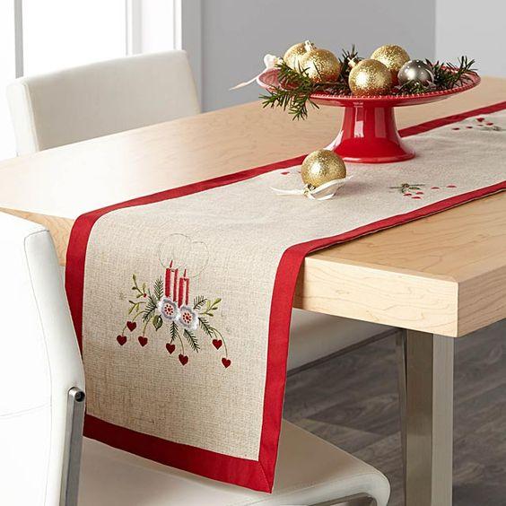 Ideas de caminos de mesa navideños naturales