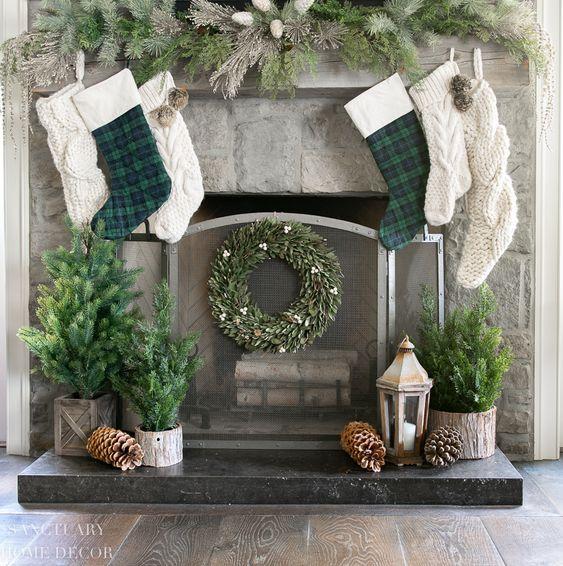 chimeneas navidenas en color verde