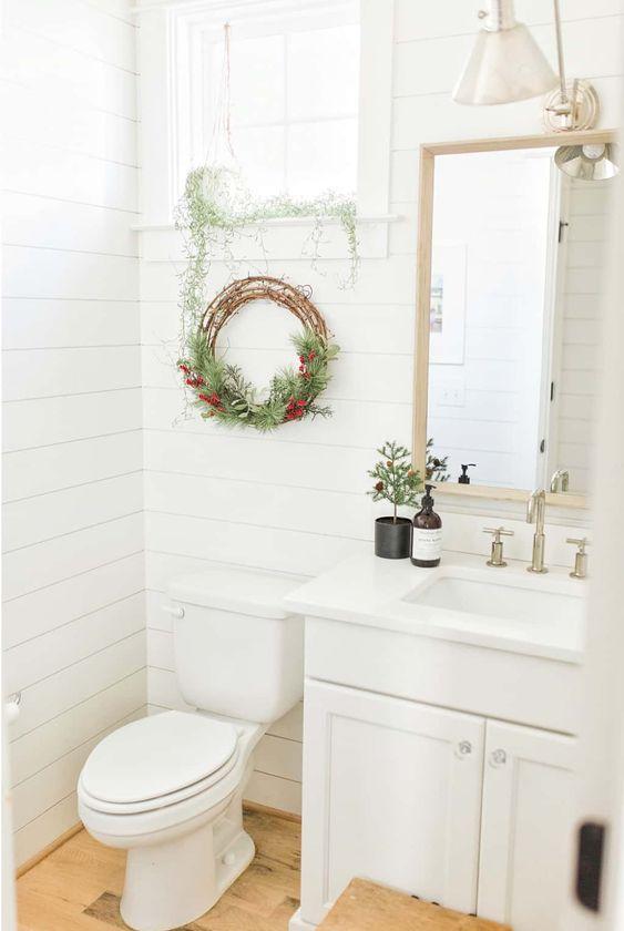 Ideas para decorar un baño en navidad en casa de Infonavit