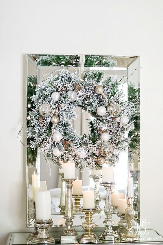 Coronas navideñas color plata