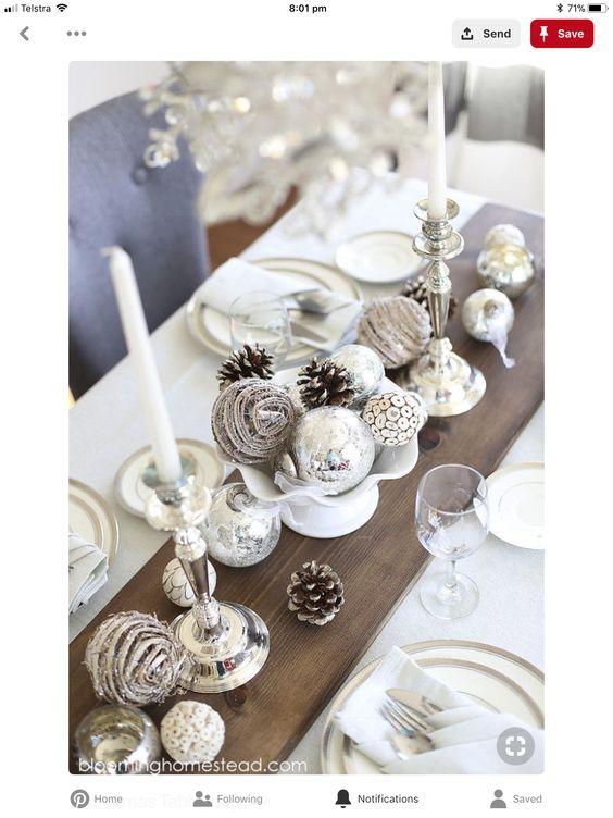 Centros de mesa navideños color plateado