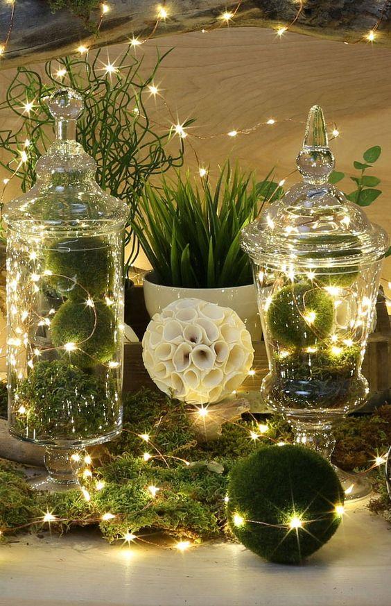 Centros de mesa navideños color verde