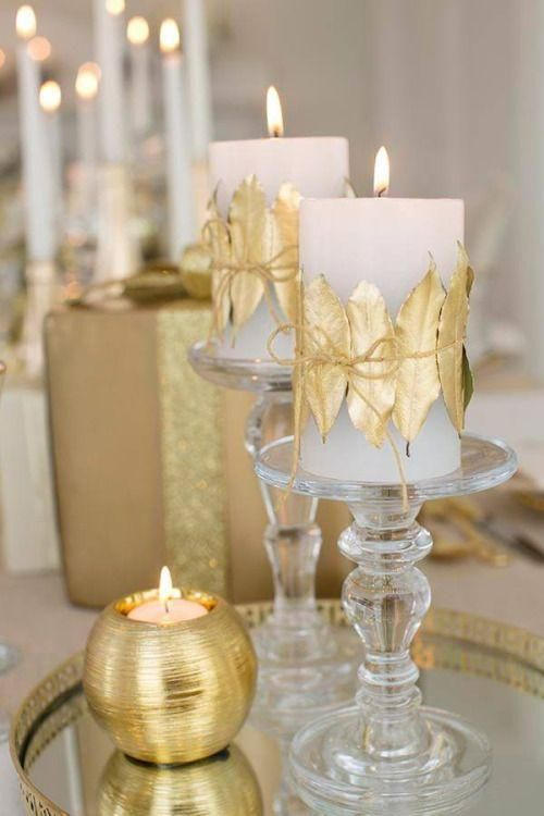 Centros de mesa navideños en dorado