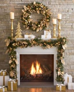 Chimeneas navideñas en dorado