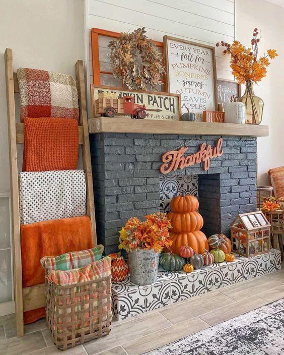 Decoración con calabazas para el otoño