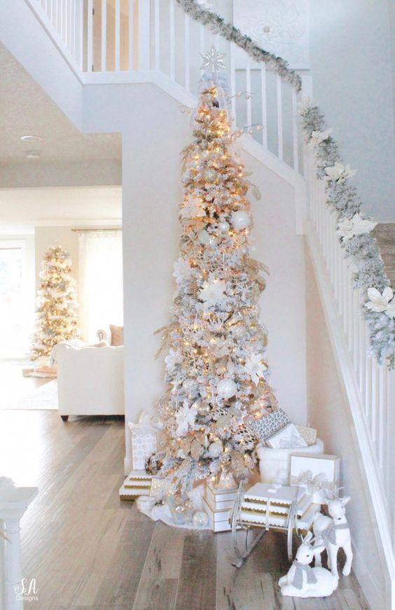 Ideas de árbol de navidad slim nevado