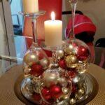 Ideas de centros de mesa navideños en bandeja con velas