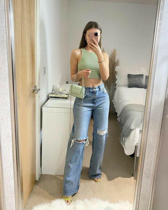 Looks con jeans de pierna ancha