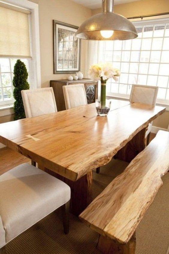 Mesas de comedor rústicas modernas con bancos