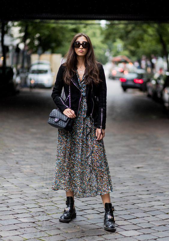 Midi dress con chamarra de cuero