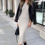 Outfits con vestido tubo y botas