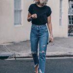 Pantalones mom jeans holgados de tiro alto