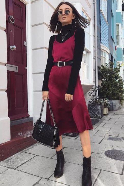 Slik dress con blusa manga larga abajo