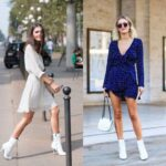 Vestidos estampados con botines blancos