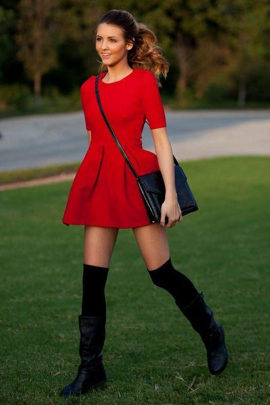 Vestidos rojos con botines