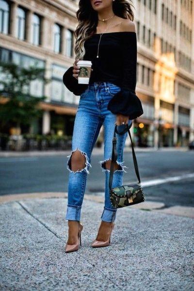 Ideas de outfit jeans rotos y tacones