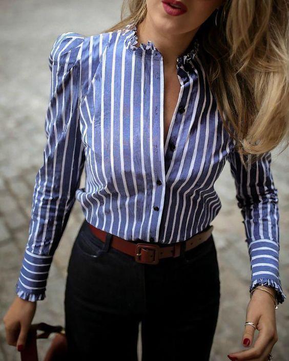 Camisas a rayas verticales para verte más esbelta