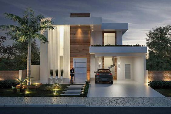 Diseños de casas modernas de dos plantas con terraza