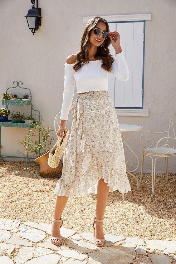 Ideas de outfits con faldas midi