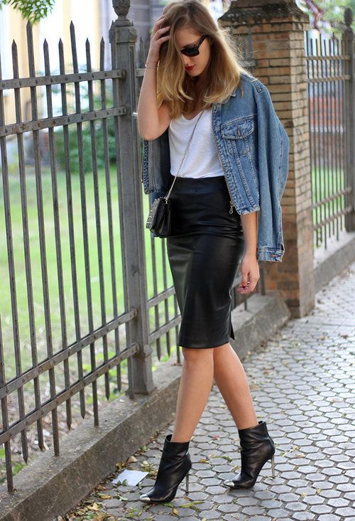 Chaqueta de cuero con faldas de cuero estilo lápiz