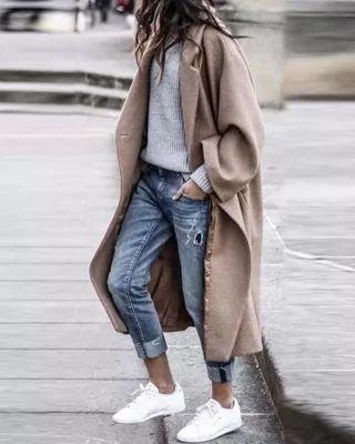 Outfits con abrigos largos color nude