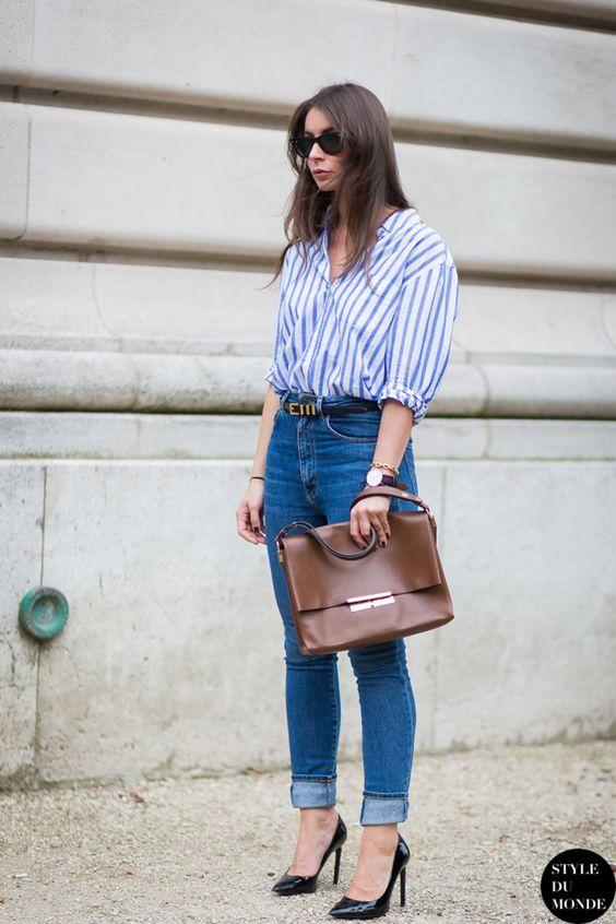 Camisas a rayas para mujeres maduras