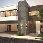 Fachadas de casas de hormigón y acero
