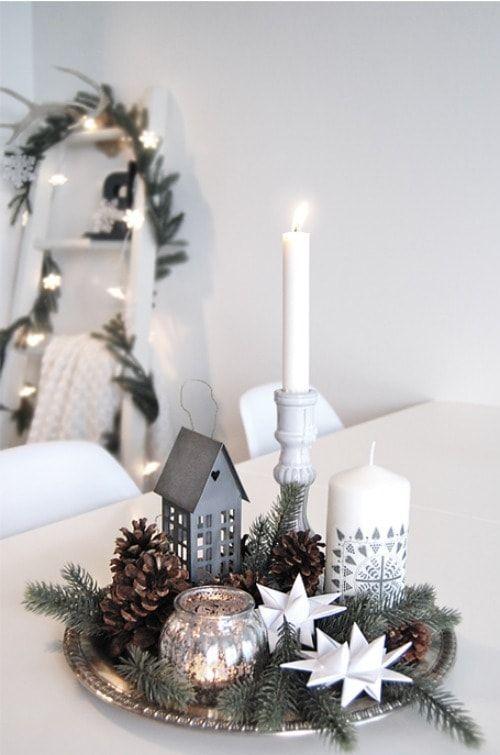 Opciones de centros de mesa navideños con velas