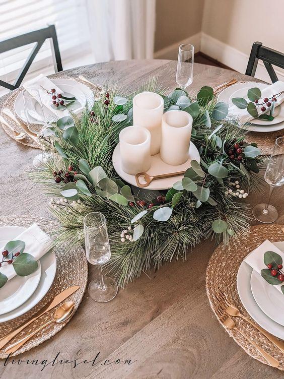 Ideas de centros de mesa navideños naturales