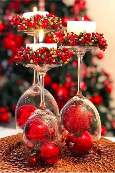 Diseños de centros de mesa navideños rústicos