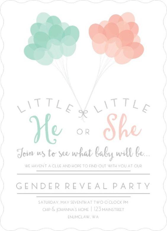 Invitaciones para fiesta de gender reveal