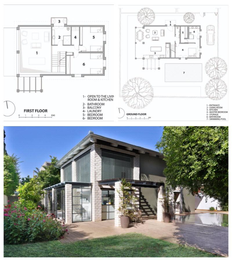 Planos de una casa de dos pisos renovada