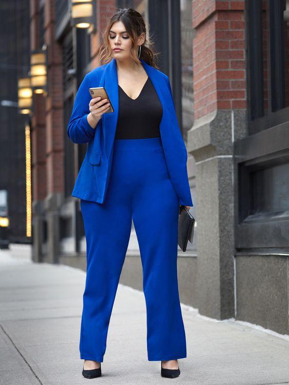 Looks con blazer para chicas plus size