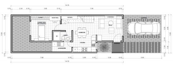 Planos de casa para terreno pequeño de 5 metros ancho
