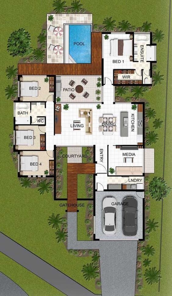 Architectural plans of one-story houses