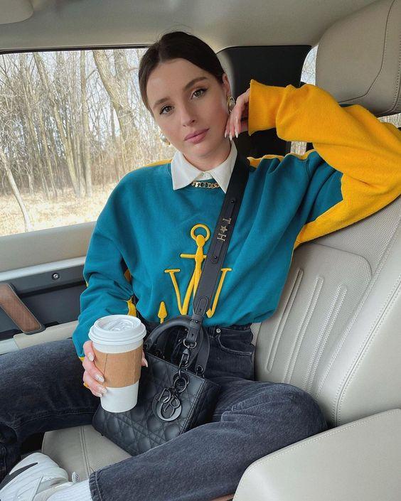 Outfits con suéteres coloridos para otoño - invierno