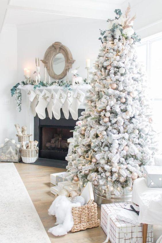 Cómo decorar un árbol de navidad blanco