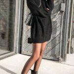 Sweater dress negros para otoño - invierno
