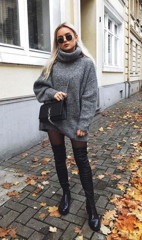 Vestidos estilo sweater con botines