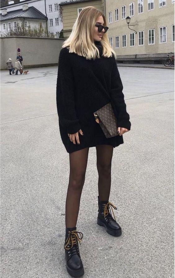 Vestidos estilo sweater con botas estilo combate