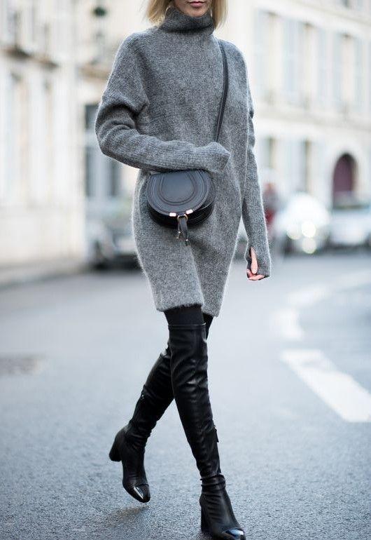 Looks de sweater dress con leggins