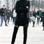 Vestidos estilo sweater con botas largas