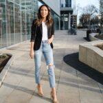 Jeans con blazer negro