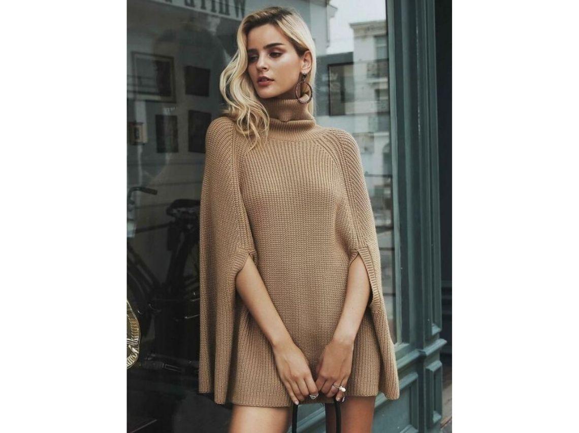 Vestidos tipo sweater con cuello de tortuga