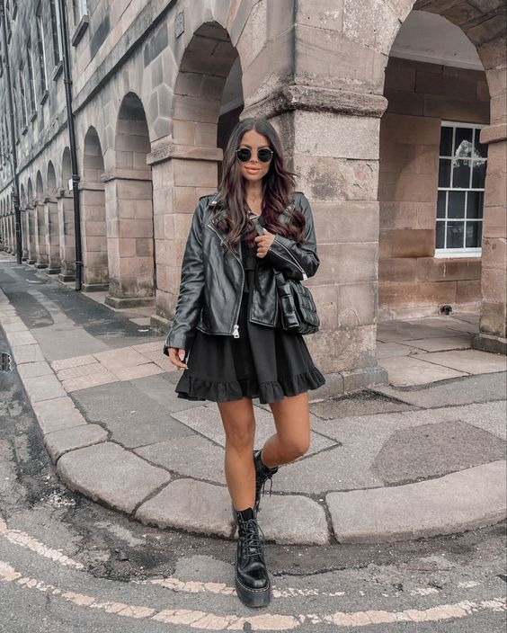 Ideas de outfits con chaqueta de cuero con vestido