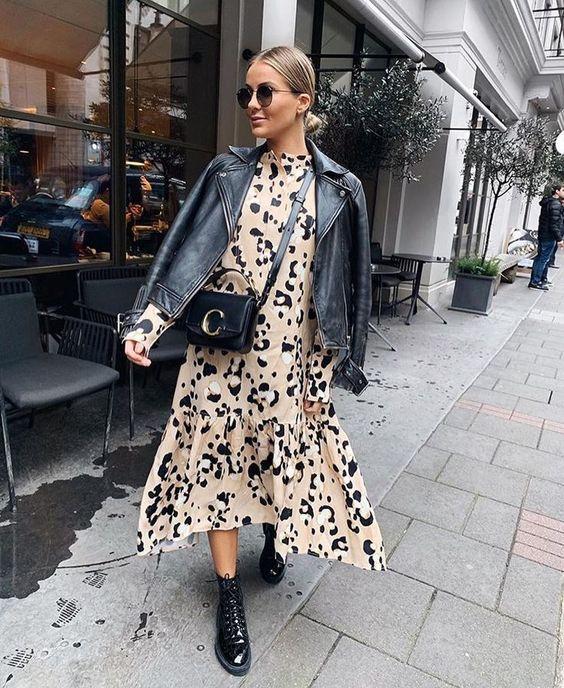 Vestidos estampados con chaqueta de cuero